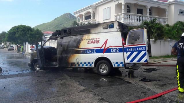 ambulance-on-fire-ebenezer-st-maarten-news