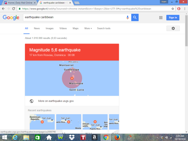 5.6 Earthquake On The Richter Scale Between Dominica and St Maarten