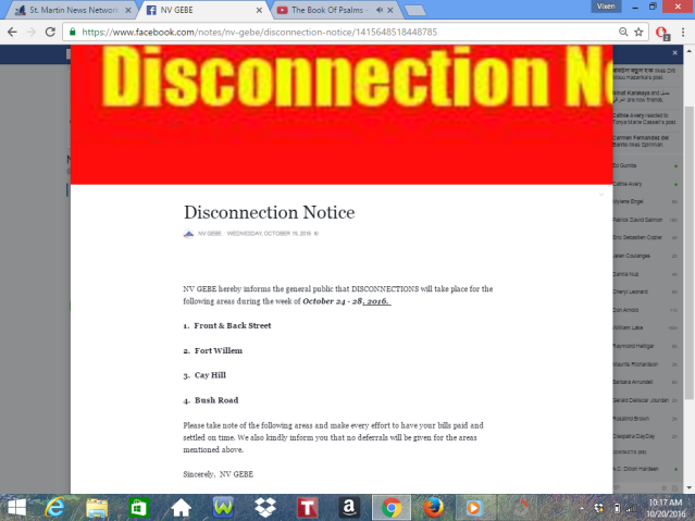 GEBE NV SXM DISCONNECTIONS ST  MAARTEN
