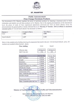 St Maarten Government Public Announcement Price Change Petroleum Products