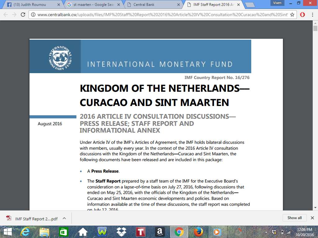 Just Released 68 Page PDF Central Bank Of Sint Maarten And Curacao – Staff Report