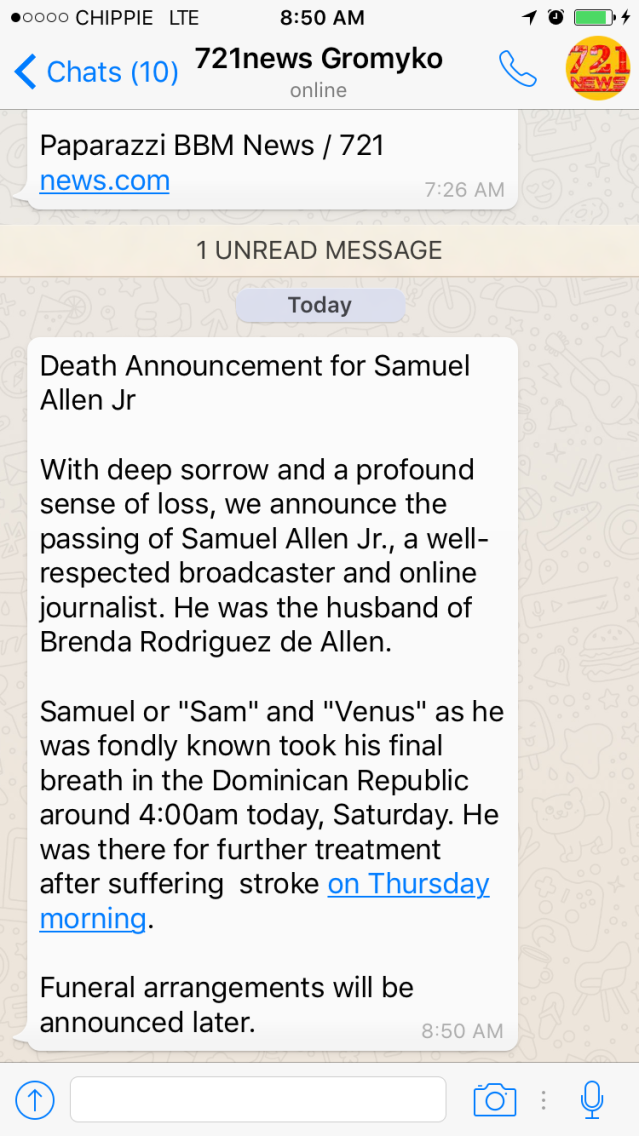 rip peace death samuel allex sxm island times