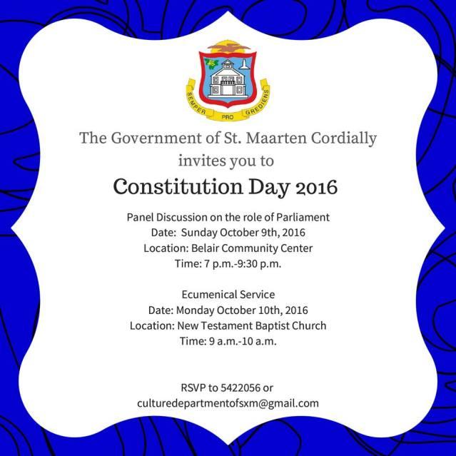 PUBLIC INVITE CONSTITUTION DAY 2016 SXM ST MAARTEN
