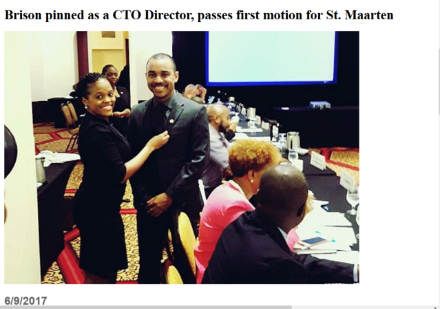Head of the St. Maarten Tourist Bureau Rolando Brison  pinned as a CTO Director, passes first motion for St. Maarten