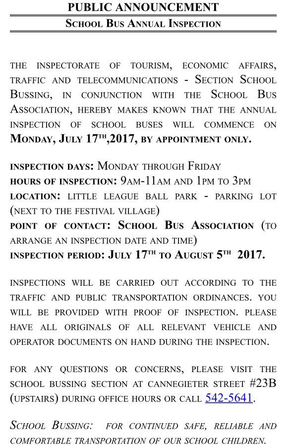 Annual Inspection Of Buses St Maarten Info