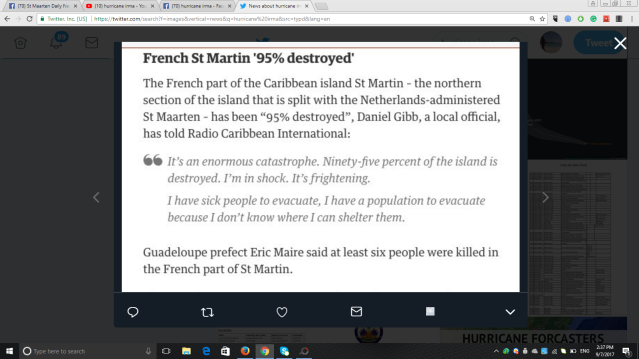 95% OF FRENCH SAINT MARTIN DESTROYED ACCORDING TO LEADER DANIEL GIBBS SOURCE: GUARDIAN