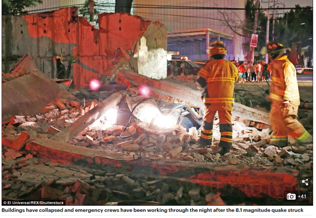 50 PHOTOS At least six dead, including two children, as huge 8.1 magnitude earthquake strikes off the coast of Mexico - triggering a tsunami and causing tremors in Texas 1,300 miles away