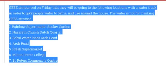 gebe water hurricane irmas
