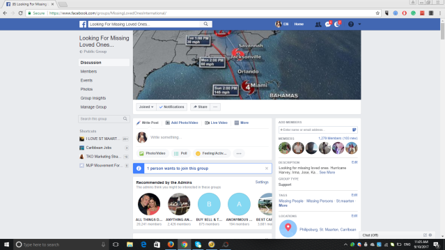 JOIN NEW FACEBOOK GROUP FOR MISSING FAMILY FRIENDS. HURRICANE IRMA ST MAARTEN THE CARIBBEAN