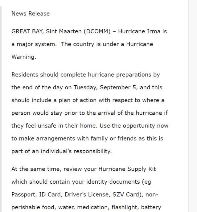 Hurricane Shelters Dutch Sint Maarten Government